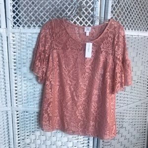 Dressbarn rose gold laced women lined blouse SZ-S